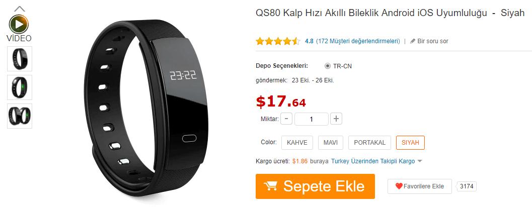 QS80 Akıllı Saat GearBest