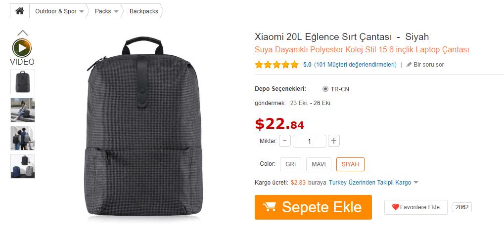 xioami sırt çantası