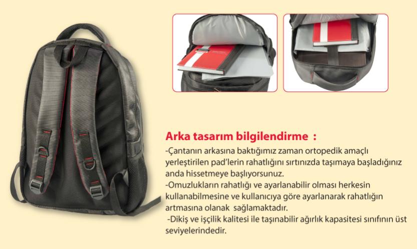 classone bpl100 notebook sırt çantası arka kısım