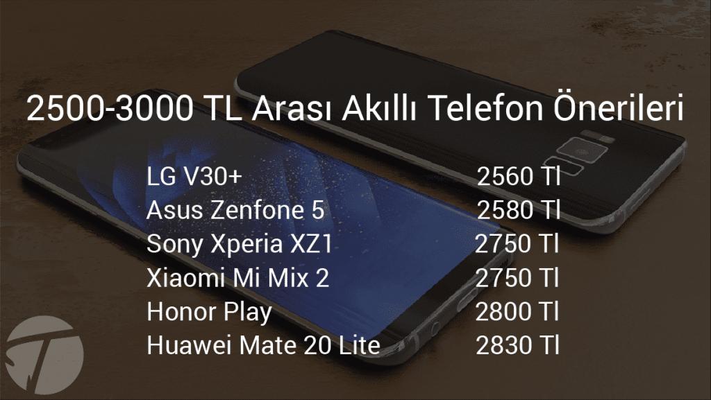 2500-3000 tl arası akıllı telefonlar