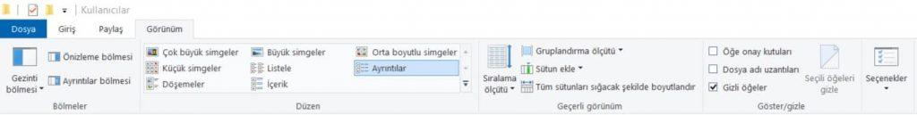 windows 10da gizli dosyaları görüntüleme