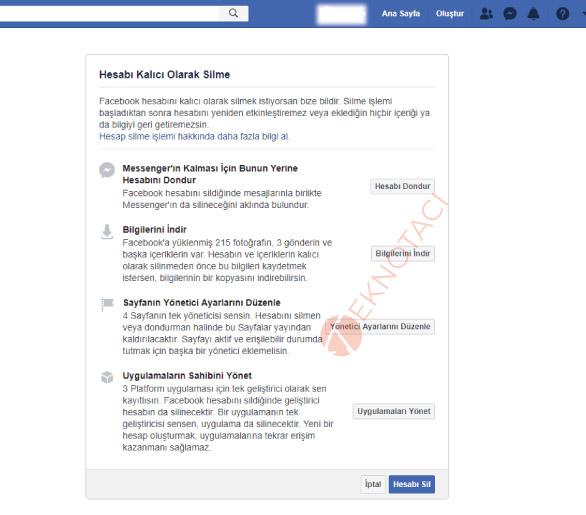 kalıcı facebook hesap silme