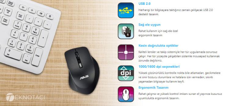 Asus Wt425 Sessiz Kablosuz Optik Mause Teknik Özellikleri