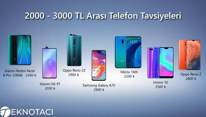 2000 - 3000 TL Arası Telefon Tavsiyeleri