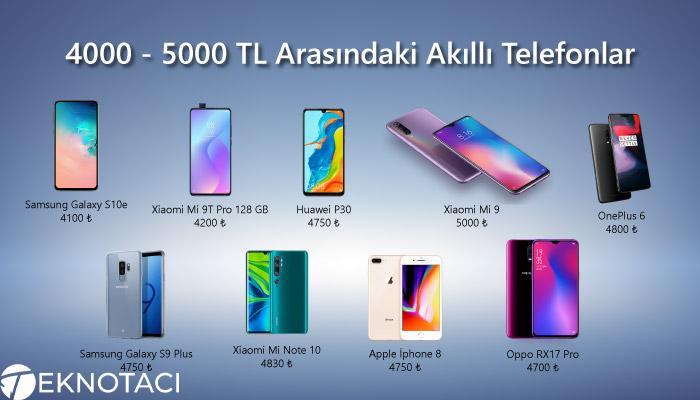 4000 - 5000 TL Arasındaki Akıllı Telefonlar
