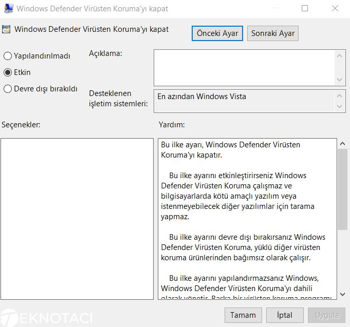 Windows Defender Virüsten Korunmayı Kapat Ayarları