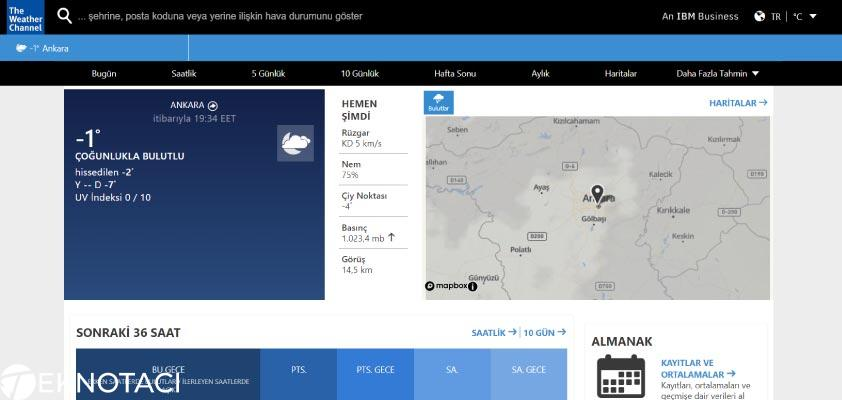 The Weather Channel - En İyi Hava Tahmini Web Siteleri