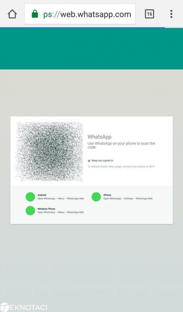 whatsapp web kare kod