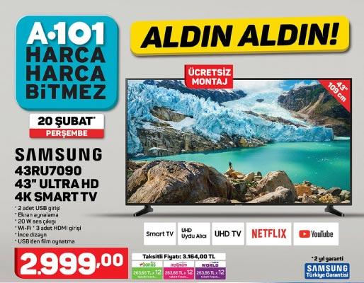 "A101 SAMSUNG 43RU7090 43"" ULTRA HD 4K SMART TV"
