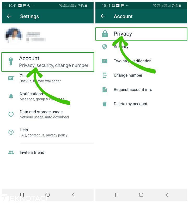Whatsapp ayarlar ekranı