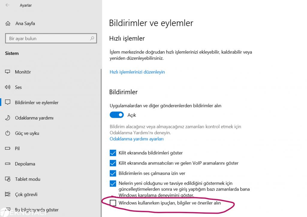 Windows 10 İpuçları ve Bildirimleri Kapatma