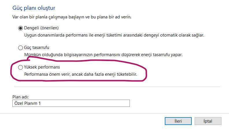 Windows 10 Yeni Güç Planı Oluşturmak