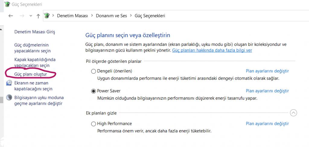 Windows 10 Güç Planı Oluşturma