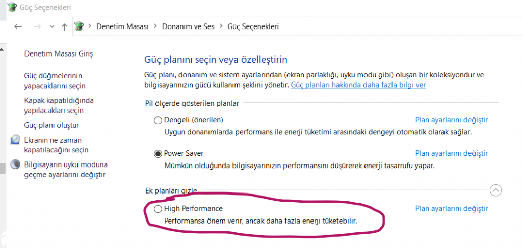 Windows 10 Yüksek Performans Modu