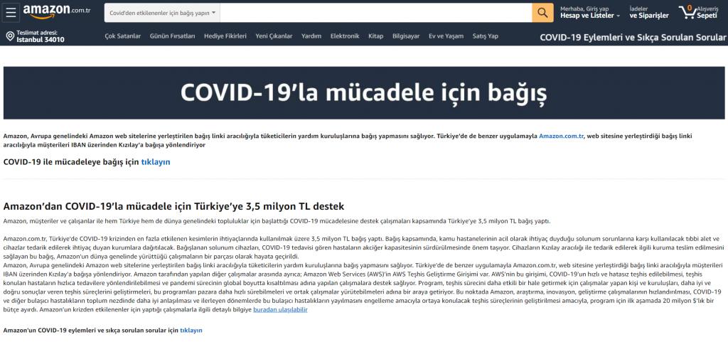 Amazon Covid19 İle Mücadele Kapsamında Türkiye'ye Bağış Yaptı