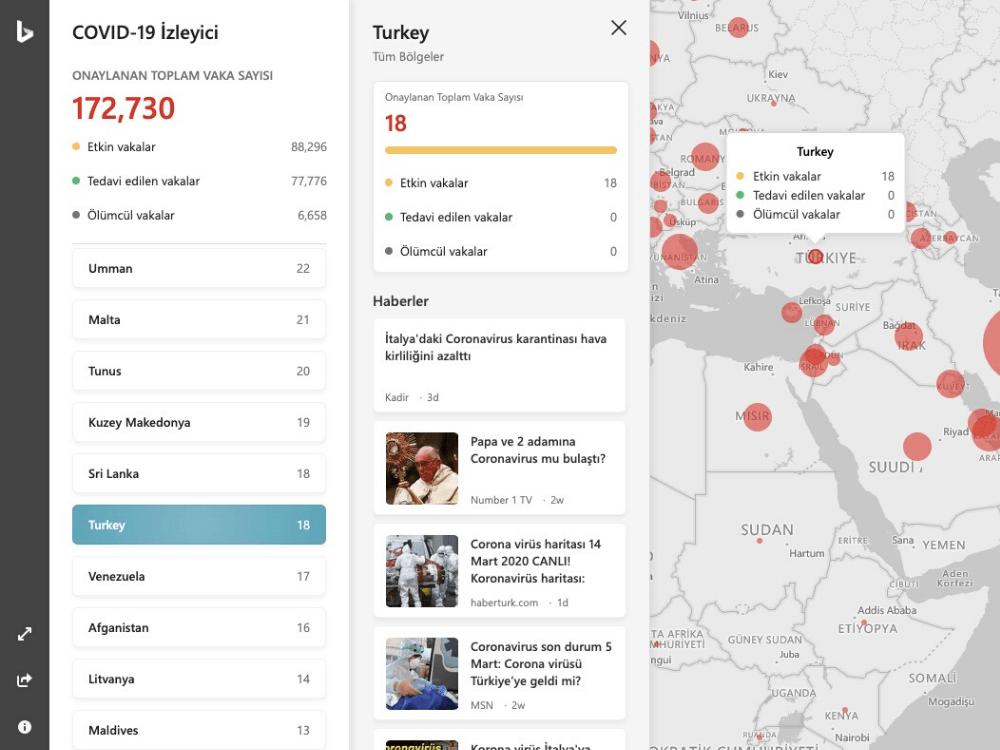 microsoft bing koronavirüs canlı haritası web sitesi