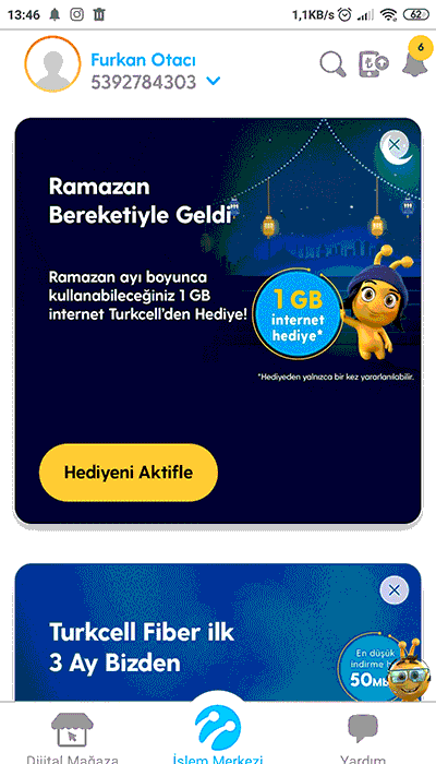 turkcell dijital operatör ramazan bereketi hediye 1 gb internet