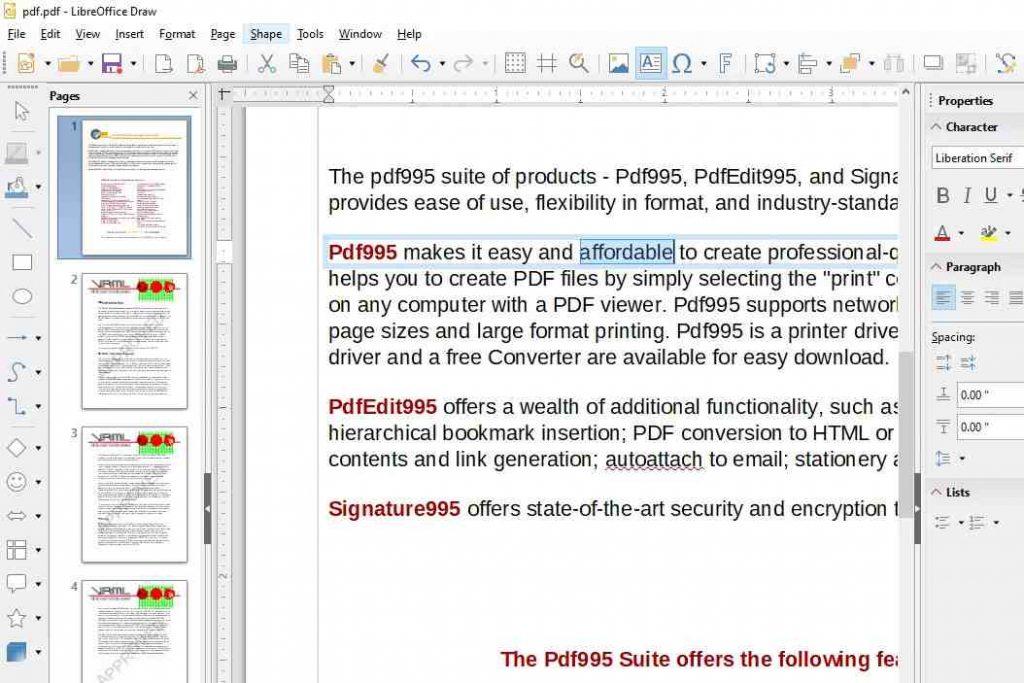 LibreOffice Draw Pdf Editör Uygulaması