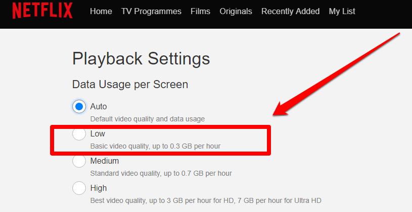 netflix internet kullanımını ayarlardan sınırlandırma