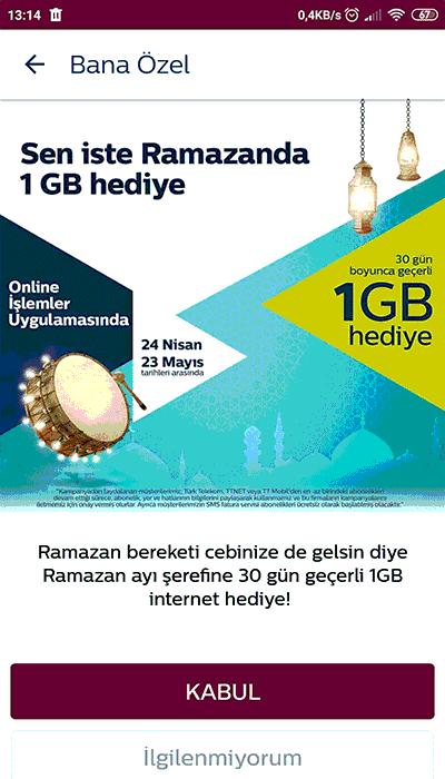 türk telekom ramazan ayı özel 1gb bedava hediye internet