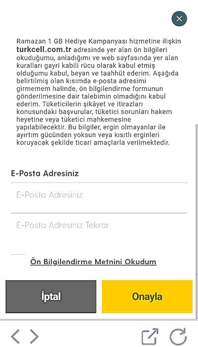 turkcell bedava hediye 1 gb onay formu