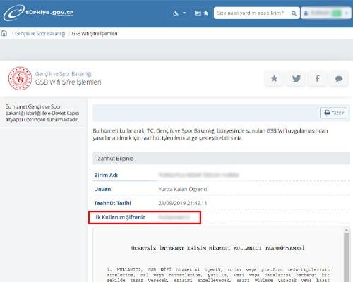 E-Devlet KYK Wifi Şifresi Sorgulama Sayfası