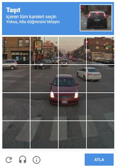 ben robot değilim google recaptha taşıt testleri soruları